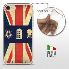 iPhone 7 TPU CASE COVER PROTETTIVA GEL TRASPARENTE VINTAGE Bandiera Inglese