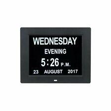"8"" LED Clock Large Dementia Digital Wall Calendar Time Day Week Year"
