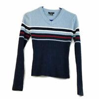 Hellium Girls Sweater Size Medium Blue Stripped Textured Long Sleeves