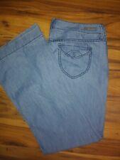 Women's LEVEL 99 Anthropologie Light Wash Cotton Denim Wide Leg Trouser Pants 32