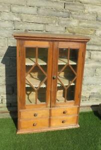 ANTIQUE GEORGIAN PINE ASTRAL GLAZED CABINET TO HANG OR  STAND SPICE DRAWERS 1800
