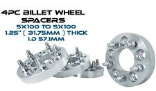 "4 5x100 MM Wheel Spacers Adapters 1.25"" Billet Aluminum 57.1 Hub Bore Fast Ship"