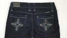 MISS ME JP4514 Boot Cut Womens Jeans Black Stone Wash Rhinestone Accents Size 27