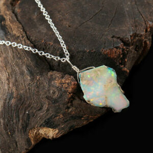 Ethiopian Opal Pendant Necklace 925 Sterling Silver Handmade Natural Raw Women