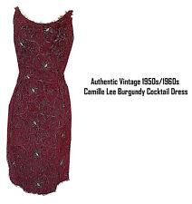 Authentic Vintage 1950s/1960s Camille Lee Burgundy Cocktail Dress