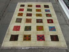Old Traditional Hand Made Vintage Gabbe Oriental Wool White Cream Rug 190x155cm