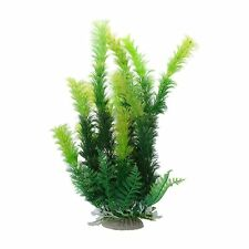 "Aquarium Ceramic Base 9.8"" Height Plastic Aquatic Plant Green BF"