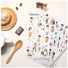 #50 cute heeda girl V2 pencil cartoon pvc stickers notebook diary deco 6 sheets
