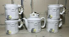 Takahashi San Francisco Hand Painted Tom Cat Teapot Set Vintage For Cat Lovers