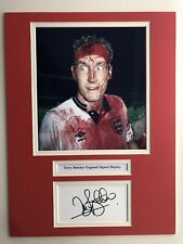 "England Football Terry Butcher Signed 16"" X 12"" Double Mounted Display"