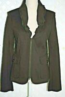 YANSI FUGEL Women's Brown Jacket / Blazer W/ zipper Front Stretch Double Knit 8