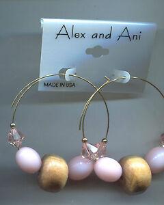 ALEX & ANI PINK GLASS wood earrings rare