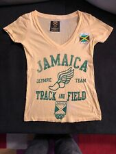 JAMAICA OLYMPIC TEAM Track & Field T-Shirt Women SMALL PREVIOUSLY OWNED YELLOW