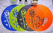 Long Stem Rose Placemat 2pcs, 4 Colors.Stencil,Wipe clean,Waterproof,In/Outdoors