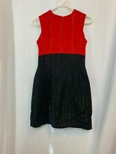 Vintage 80s Red Black dress with gold thread running throughout