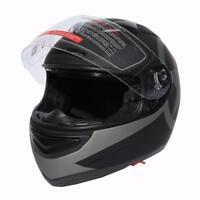 Black DOT Star Dual Visor Full Face Motorcycle Helmet + Smoke Sun Shield TCMT