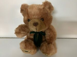 Beautiful 19 Inch Soft Fluffy Brown Teddy Bear With A Green Bow Tie.