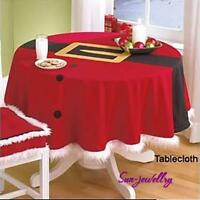 Round Christmas Tablecloth Cover Xmas Party Kitchen Restaurant Table Decor Shan