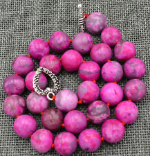"""12mm pink Crazy Lace Agate Necklace 18"""" Tibetan silver love clasps"""