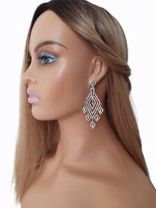 Stunning 8.5cm long silver & diamante - crystal geometric drop earrings #M48