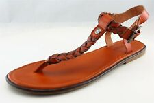 American Eagle Outfitters T-Strap Sandals Brown Leather Women Shoes Sz 9 Medium