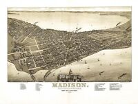Map Madison Wisconsin 1885 Picture Canvas Art Print