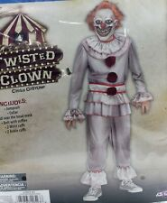Twisted Carnevil Clown Child Boys Halloween Costume Sz Large 10-12 Pennywise It