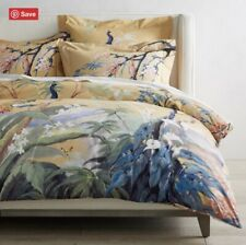 New listing Brand New Williams Sonoma Painted Peacock Duvet Cover King + 2 King Shams Yellow