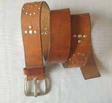 Womens Brown Silver Studded Leather Belt Size M 1-1/2 Inch Wide