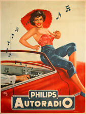 Vintage pin up Philips Autoradio ad reproduction steel sign man cave decor