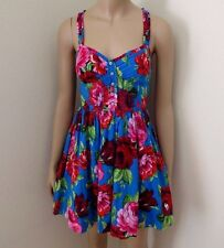 NWT Abercrombie Womens Floral Sun Dress Size XS Colorful Roses Blue & Red
