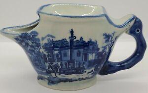 Antique 19th C. Victorian Ironstone Staffordshire Flo Blue Porcelain Shaving Mug
