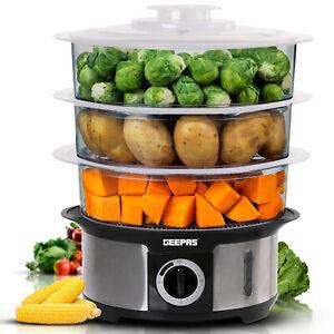 Geepas Food Steamer 12L Electric 3 Tier Cooker Vegetable Fish Stainless Steel