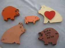 PIGGY MAGNETS, LOT OF 5, WOODEN, GOOD CONDITION