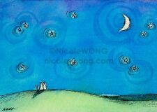ACEO PRINT - Love under the Night Sky - cat, pets, landscape, moon, stars
