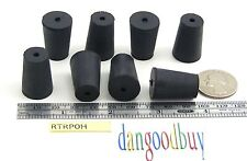 """6  Rubber Stoppers - Laboratory Stoppers - Size 0 -- With Single Hole - """"Corks"""""""
