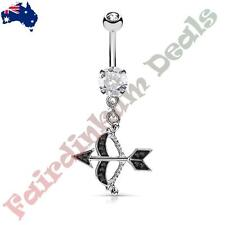 Silver Ion Plated Belly Ring with Paved Black Cz Cupids Bow & Arrow Dangle