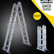 15.5 Ft Multi Purpose Aluminum Folding Step Platform Scaffold Ladder 330LBS NEW