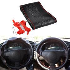DIY Handcraft Black Cowhide Leather Car Steering Wheel Cover Red String + Needle