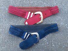 Vintage 80's Wide Woven Leather Hip Belt Lot Tony Barcelo