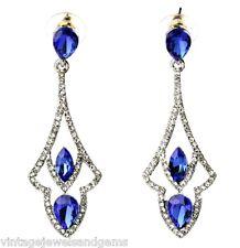 SAPPHIRE BLUE TEAR DROP CLEAR CRYSTAL RHINESTONE Silver Art Deco Stud Earrings