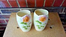 More details for royal winton two art deco h25cm grimwades tea rose relief pearlescent vases