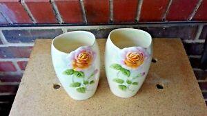 Royal Winton two Art Deco H25cm Grimwades tea rose relief pearlescent vases