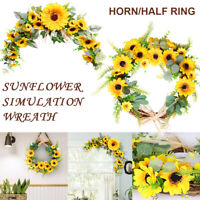 Home Decorations Easter Pastoral Style Sunflower Artificial Flower Horn Garland