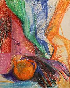 Vintage pastel painting expressionist still life with gloves and teapot