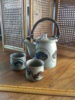 Vintage OMC Otagiri Japan Stoneware Pottery Teapot Dark Bamboo Handle + 2 Cups