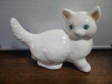 Porzellan / Keramik Katze / Katzen Figur / Kätzchen weiß