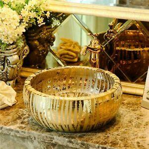 Gold Waterfall Bathroom Cloakroom Ceramic Counter Top Wash Basin Sink Bowl 40cm