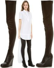 MAISON MARTIN MARGIELA Black Leather Wedge Thigh Boots Size UK 6/EU 39 RRP £1300