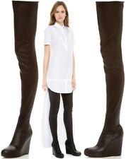MAISON MARTIN MARGIELA Black Leather Wedge Thigh Boots Size UK 7/EU 40 RRP £1300